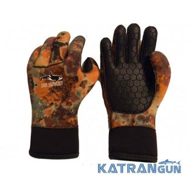 Перчатки для подводной охоты BS Diver Camolex 5 мм коричневый камуфляж