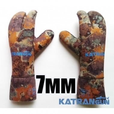 Рукавицы для подводной охоты KatranGun Hunter Camo 7 мм; золотое напыление