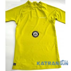 Лайкровая футболка Olaian; короткий рукав; жёлтая