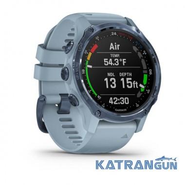Часы для дайвинга Garmin Descent Mk2S; цвет Mineral Blue с серым силиконовым ремешком