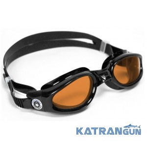 Очки для бассейна Aqua Sphere Kaiman; черные, линзы янтарные