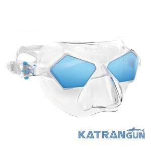Маска фридайв Salvimar Incredible, прозрачный силикон/синие линзы