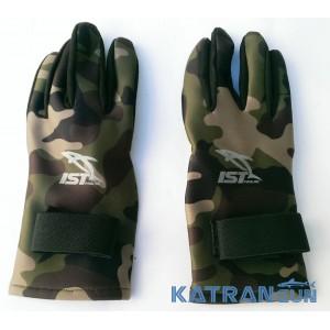 Неопреновые перчатки для подводной охоты IST Green Camo Amara 2 мм