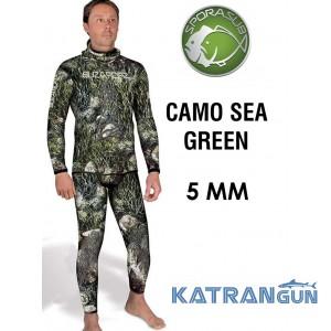 Гидрокостюм для подводной охоты 5 мм Sporasub Camo Sea Green