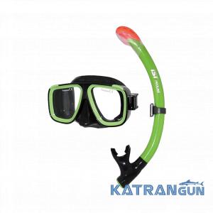 Набор для плавания трубка и маска IST CS91035, зеленый