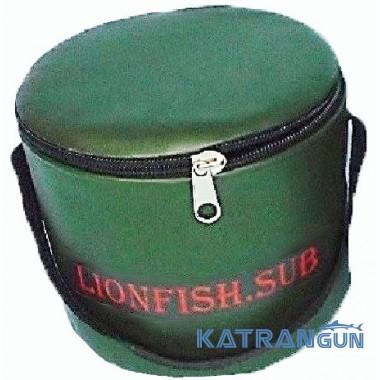 Складное ведро для прикормки KatranGun (от LionFish) 5 л, с крышкой на молнии, 1 ручка