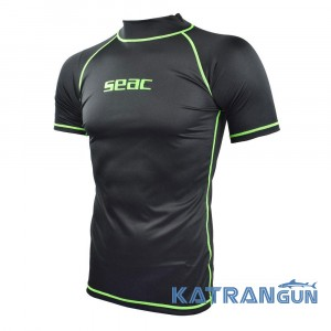 Мужская футболка для плавания с уф защитой Seac Sub T-Sun; короткий рукав; черная