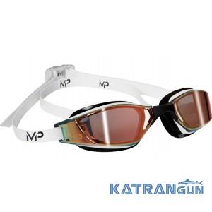 Стартовые очки Michael Phelps Xceed; бело-черные, линзы зеркально-золотые