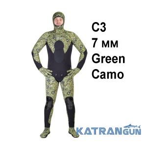 Гидрокостюм для подводной охоты весна осень Scorpena C3 7 мм; Green Camo