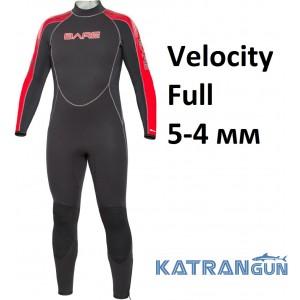 Гідрокостюм для дайвінгу та серфінгу Bare Velocity Full 5-4 мм
