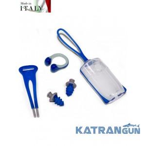 Беруші Aqua Sphere Ear Plugs + затиск для носа Silicone Nose Clip Blue