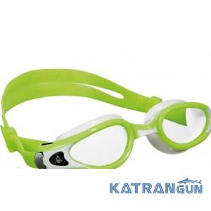 Очки для плавания Aqua Sphere Kaiman Exo Small; зелёно-белые; прозрачные линзы