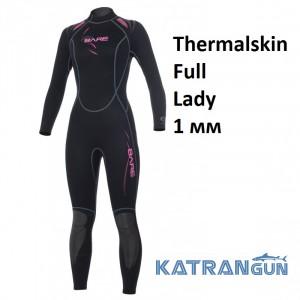 Гідрокостюм жіночий для серфінгу Bare Thermalskin Full Lady 1 мм