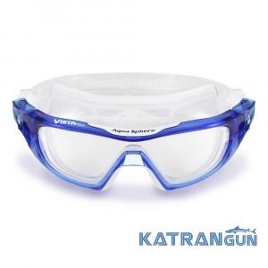 Очки маска Aqua Sphere VISTA PRO, голубой-белый; линзы прозрачные