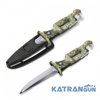 Нож для подводной охоты с резиновой рукояткой Omer Drop Point Black Shark