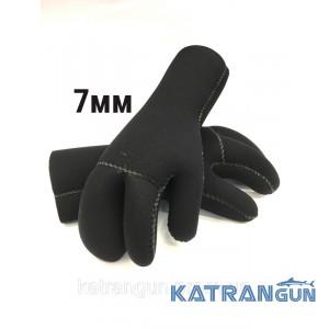 Перчатки трехпалые KatranGun Hunter 7 мм; нейлон-открытая пора