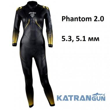 Женский гидрокостюм для триатлона Phelps Phantom 2.0; 5.3, 5.1 мм