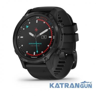 Часы для дайвинга Garmin Descent Mk2S; цвет Carbon Gray DLC с черным силиконовым ремешком