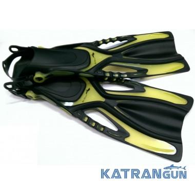Ласты для плавания BS Diver GlideFin; открытая пятка; жёлтые