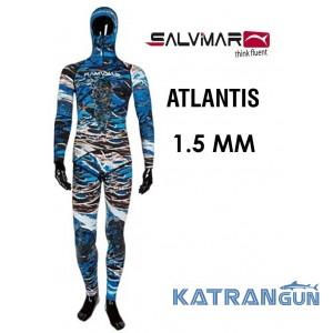 Гидрокостюм для подводной охоты море Salvimar Atlantis 1,5 мм (куртка + короткие штаны)