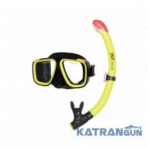 Набор для дайверов маска + трубка IST CS91035, желтый