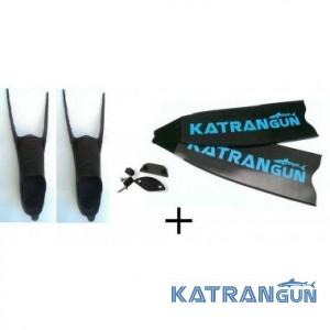 Сэндвич карбоновые ласты для подводной охоты KatranGun, в калошах Mares Razor 25 жесткость