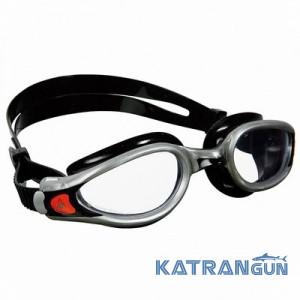 Очки для плавания Aqua Sphere Kaiman Exo; серебристо-чёрные; прозрачные линзы
