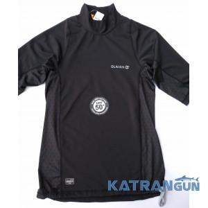 Лайкровая футболка для плавания Olaian; короткий рукав; черная