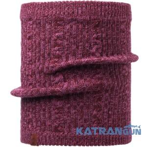 Комфортний м'який в'язаний шарф-труба Buff Knitted & Polar Neckwarmer Comfort Braidy amaranth purple