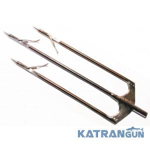 Трезубец для подводного ружья Фирменный из нержавеющей арбалетной стали с перекидными флажками