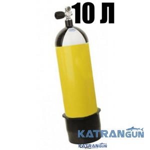 Балон Eurocylinder, 10 літрів, 300 Bar, з однопортовим вентилем і черевиком, жовтий