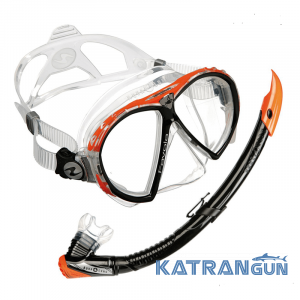 Набор для снорклинга маска AquaLung Favola + трубка Zephyr; оранжевый