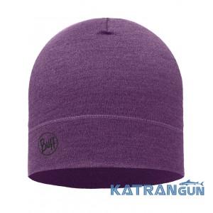 Мягкая шапка Buff Midweight MerinoWool Hat purple melange