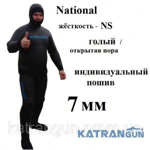 Пошив костюмов для подводной охоты 7мм National NS, гладкий/пора, короткие штаны