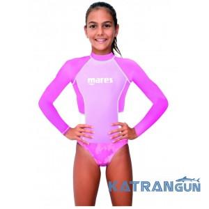 Детская лайкровая футболка рашгард Mares Rash Guard Girl Junior, длинный рукав, для девочки (8-13 лет)