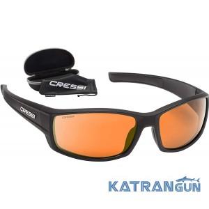Очки солнцезащитные унисекс Cressi Hunter; Black/Mirrored Lens Orange