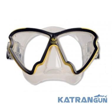 Дайверская маска Poseidon Phantom; прозрачный силикон, черно-желтая рамка