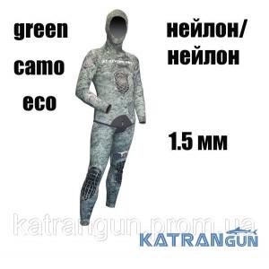 Гідрокостюм для дайвінгу тропіки XT Diving Pro Green Camo Eco 1.5 мм; нейлон / нейлон