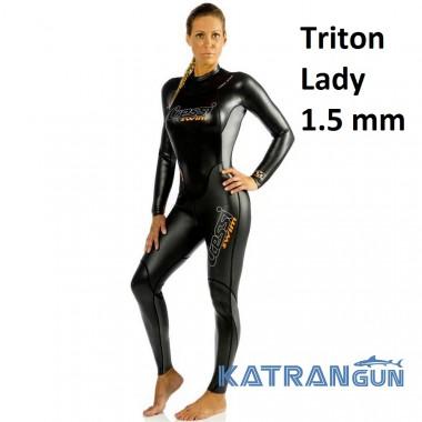 Гідрокостюм жіночий для підводного плавання Cressi Sub Tritone Lady 1.5 мм
