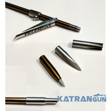 Гарпун резьбовой калёный с лепестком Pelengas Magnum + 3 сменных бойка; 7 мм; 700 мм; под Pelengas